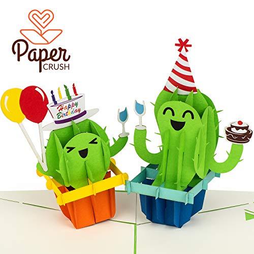 PaperCrush® Pop-Up Geburtstagskarte Kaktus - Lustige 3D Popup Karte zum Geburtstag, Glückwunschkarte für Kindergeburtstag mit Kakteen, Happy Birthday Karte inkl. Umschlag