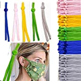 100 Pieces Sewing Elastic Band Cord with Adjustable Buckle Heavy Stretchy Earloop Fabric Tie Lanyard Rope for DIY Sewing & Crafts-(5-Color)