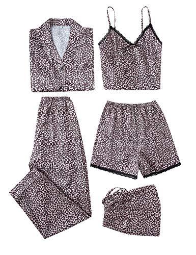 5PC Damen Nachtwäsche Set Satin Schlafanzug Seide Blumenmuster Pyjama Nachthemd Cami Shorts Hose Langarm Button-Down-Shirts S-XXL (Leopard, M)