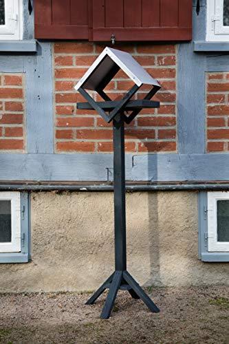 KUHEIGA Futterhaus aus Holz Zinkdach, grau, H:150cm, Futterstelle Vögel, Vogelhaus