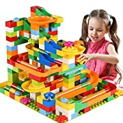 #LightningDeal TEMI 248 PCS Marble Run Deluxe Sets for Kids, Marble Race Track for 3+ Year Old Boys and Girls, Marble Roller Coaster Building Block Construction Toys, Puzzle Maze Building Set with 8 Marbles Balls