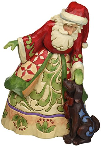Jim Shore Heartwood Creek Santa with Puppy Stone Resin Figurine, 9""