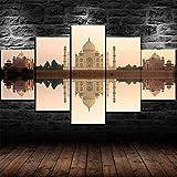 wodclockyui 5 Piezas Cuadro de Lienzo- Castillo del Templo hindú Taj Mahal Pintura 5 Impresiones de imágenes Decoración de Pared para el hogar Pinturas y Carteles de Arte HD 200cmx100cm sin Marco