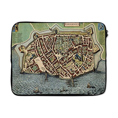 Laptophoes 15 inch 38x29 cm - Historische stadskaarten - Macbook & Laptop sleeve Historische stadskaart van het Nederlandse Harderwijk - Laptop hoes met foto