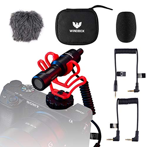 External Video Microphone for Camera with Noise Isolate Shock Mount, Windbox Compact On-Camera Mic and Accessories Compatible with Smartphone and DSLR Cameras, Vlogging TIKTOK Microphone