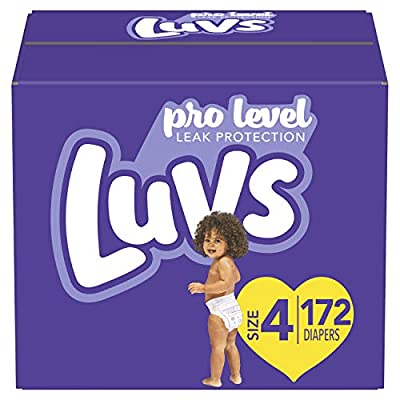 Diapers Size 4, 172 Count - Luvs Ultra Leakguards Disposable Baby Diapers, ONE MONTH SUPPLY from Procter & Gamble