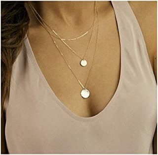 18k Gold Plated Layered Necklace Coin Gold Y Pendant Necklace Pearl Choker Necklaces Gold Chain Necklace for Women Lady Girls Gift Jewelry