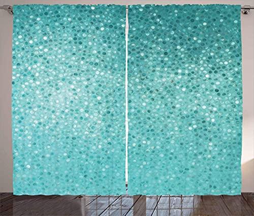 LKCD Cortinas Cocina Ventana Corta Forma De Azulejos De Puntos Verde Azul 264X240Cm Cortinas Habitacion 3D Patrón Cortinas Opacas Habitacion Y Dormitorio para Infantiles