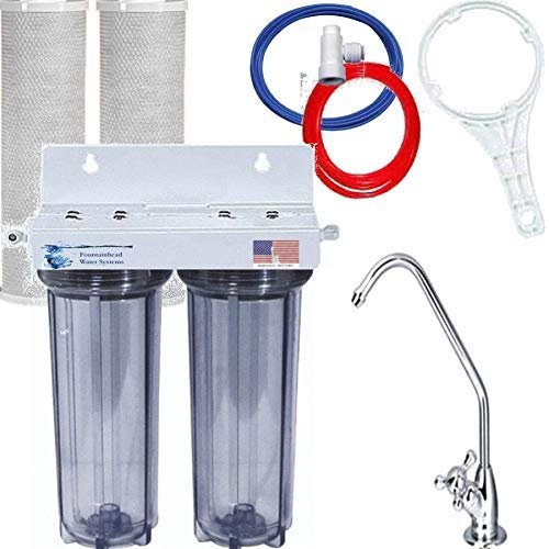 2 Stage Under Sink Water Filter System 2 Bone Char Fluoride/Arsenic Carbon Filters
