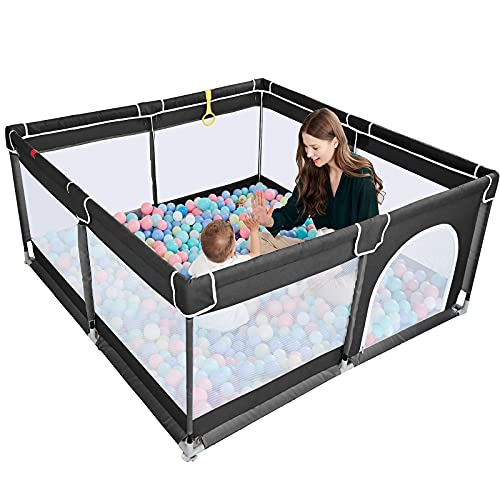 """TODALE Baby Playpen for Toddler, Large Baby Play Yard,Prevent Climbing Safe and No Gaps Playpen for Babies,Baby Gate Playpen(Black,50""""×50"""")"""