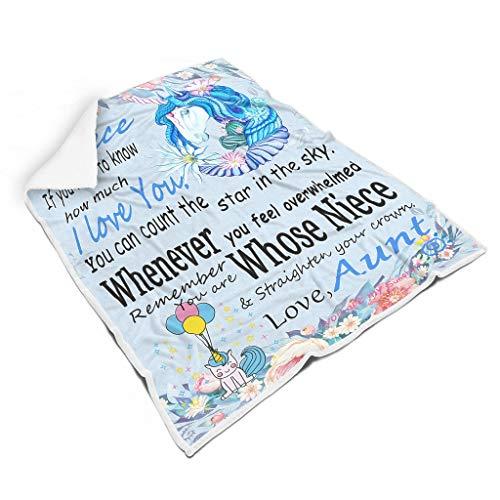 Knowikonwn Blankets To My Niece Bademantel in Übergröße, tragbar, luxuriös, erstklassig, für Tante und Einhorn, passend für TV für Mädchen/Jungen, 152,4 x 203,2 cm, Blau