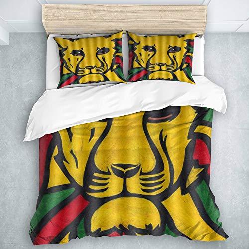 SUHETI Microfibra Juego de Cama Efectos 3 Piezas,El León de Judá Rasta Jamaica Reggae Logo Painting,1(200x200cm)+2(50x80cm)