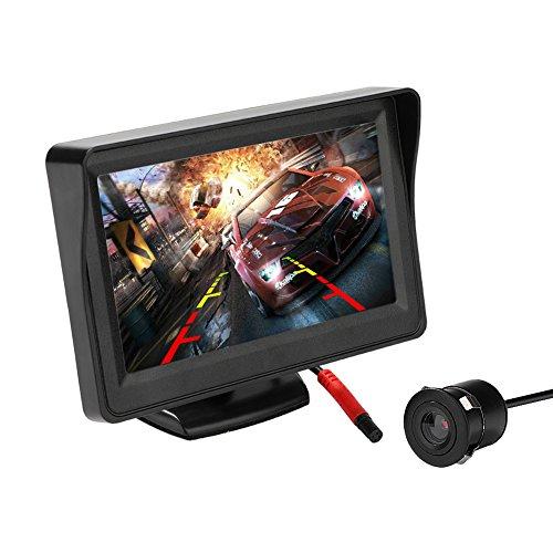 MiCarBa Telecamera retromarcia e kit monitor per auto, monitor LCD da 4,3 pollici Vista posteriore Sistema di assistenza parcheggio di sicurezza con telecamera di backup a incasso (CL403KBM)