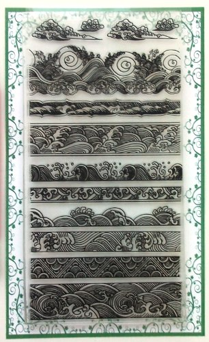 Ocean Waves Borders Clear Stamps Set (4'x7) Chinese Japan Vintage Retro Style