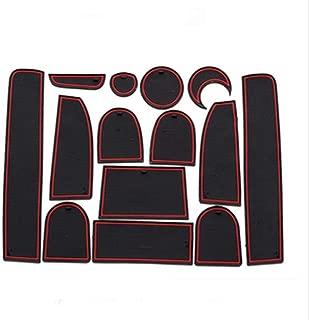 WDINN-fhd 14PCS Car Door Gate Slot Storage Mats Interior Bins Mat Cup Holder Rubber Pad Set Anti-Slip Anti-dust Car Interior Dcoration for Q7 2010-2015