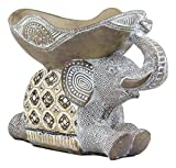 Ebros Large Gold Accent Mosaic Design Noble Elephant Laying Down with Trunk Up Holding Decorative Bowl Statue for Succulents or Potpourri Balls or Home Decor Accessories As Zoo Safari Animal