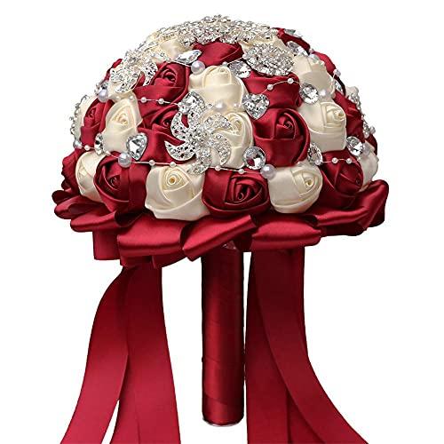 Acyoung Spilla fatta a mano per bouquet da sposa, in raso, con rose e strass, per bouquet da sposa, bouquet di rose artificiali, decorazione (rosso)