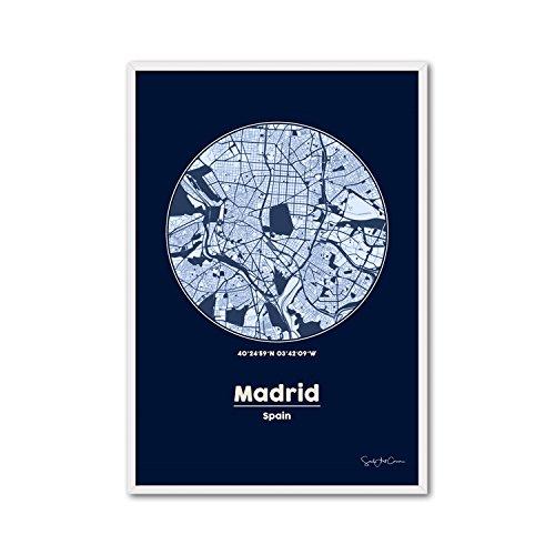 Cuadriman Mapa Madrid Peq Cuadro, Madera, Turquesa y Blanco, 62 x 42 cm