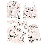 CTMD Juego de 7 Piezas Conjunto de Pijama de Seda Hielo para Mujer, Ropa de Dormir Cómoda y Suave para Primavera Verano Otoño Invierno Fiesta, Inicio