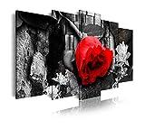 DekoArte 269 - Cuadros Modernos Impresión de Imagen Artística Digitalizada | Lienzo Decorativo para Salón o Dormitorio | Estilo Naturaleza En Blanco y Negro con Flor en Rojo | 5 Piezas 200x100cm XXL