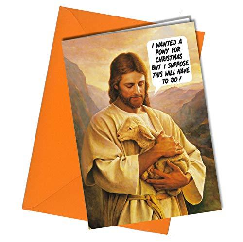 #1183 - Biglietto Di Auguri Di Natale Con Gesù Che Vuole Un Amico Pony