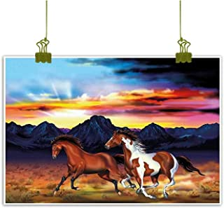 Western Chinese Classical Oil Painting Running Wild Horses at Sunset Artistic Rustic Landscape Colorful Sky Illustration for Living Room Bedroom Hallway Office 24