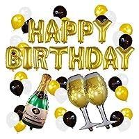 風船 バルーン 34ピース誕生日パーティーバルーンセットホイルシャンパンラテックス風船大人のための誕生日の装飾品 3d