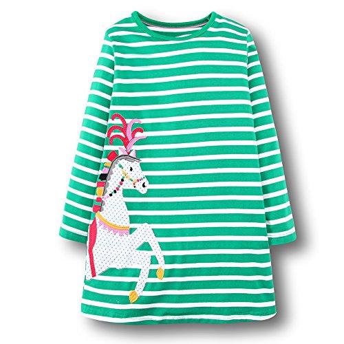 OHBABYKA Ohbabyka Little Girls Cute Casual Baumwolle Tiere gedruckt Streifen Langarm Playwear Kleid (Green Horse, 4T)
