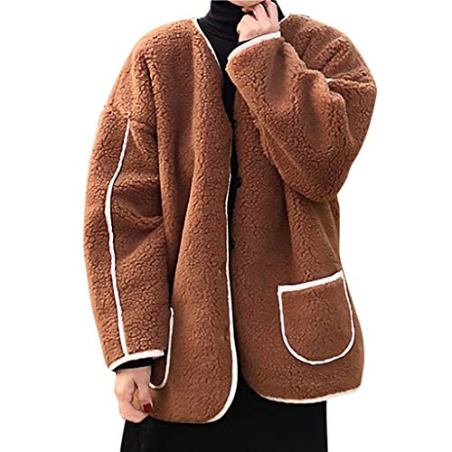 New Gleamfut Womens Fleece Cardigan Coat Winter Long Sleeve Pocket Warm Jacket Overcoat Brown