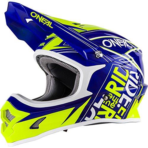 O'Neal 3Series Fuel MX Helm Blauw Neon Geel Hi-Viz Youth Motocross Enduro Quad Cross, 0623-51