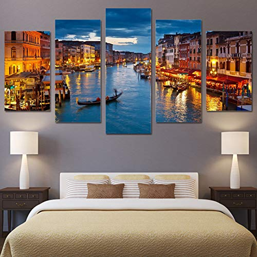 LPHMMD 5 canvas paintings Canvas Print Pictures Home Decor 5 Pieces Water City Boat Light Landscape Paintings Living Room Wall Art Poster-30x40cm 30x60cm 30x80cm