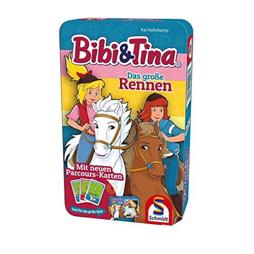 Schmidt Spiele 51417 Bibi und Tina, Das große Rennen, Reisespiel in der Metalldose, bunt