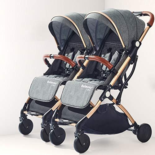 Leichte Kinderwagen Deichsel Design Doppel-Kinderwagen, abnehmbare Kinderwagen Faltbare Doppel-Kinderwagen, Carport Regendicht, eine Fuß Doppelbremse (Farbe : Gray)