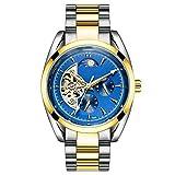 Relojes de Moda Reloj mecánico automático del Reloj Banda de Acero Inoxidable Impermeable Reloj Las Personas Que corren (Color : 795A Gold and Blue Surface)