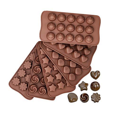 Silikonformen für Schokolade, Süßigkeiten, 6 Formen, BPA-frei, antihaftbeschichtet, inkl. Herzen, Sterne, Muscheln, Smiley-Gesichter, rund, Blumen (6 Packungen)