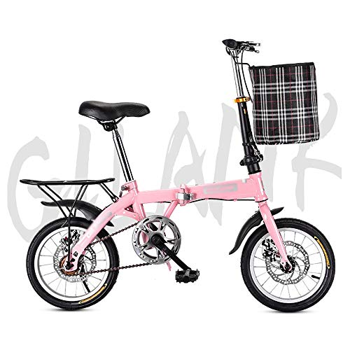 Luorizb Mini Folding Bicycle Student Bicycle Single Speed Disc Brake Adult Compact Foldable Bike Gears Folding System Traffic Light Fully Assembled (Color : D, Size : 20in)