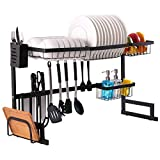 Over the Sink Dish Drying Rack, Furnikko Stainless Steel Kitchen Dish Rack Sturdy Storage Rack Save the Space of the Kitchen Countertop (Sink Size ≤ 32.5 inches, Black)