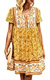 Angashion Women's Tunic Dresses Casual Floral Print Embriodered V Neck Cap Sleeve Loose Babydoll Flowy Mini Dress 2130 Yellow S