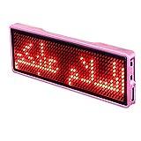 Etiqueta Nombre LED Mensaje Evento Señal Recargable Publicidad Desplazamiento Mini Pantalla Insignia Portátil Hotel Fiesta Tarjeta Visita Digital programable(Rosa)