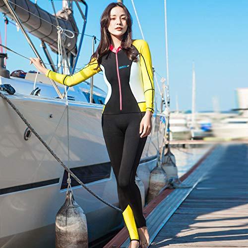 YOUFUDE Frauen Lycra Tauchanzug Set 0,5 mm Sonnencreme UV atmungsaktiv Langarm Rücken Reißverschluss Schwimmen Surf Patchwork Frühling und Sommer,B,XXL