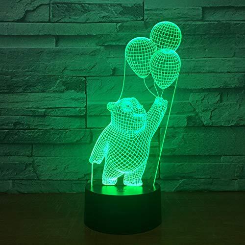 Lámpara Ilusión Optica 3D Globo Lindo Oso Luz De Noche 16 Colores Cambio Touch Led Usb Lámpara De Mesa Dormitorio Decoración Juguetes De Regalo De Navidad Y Cumpleaños Para Niños
