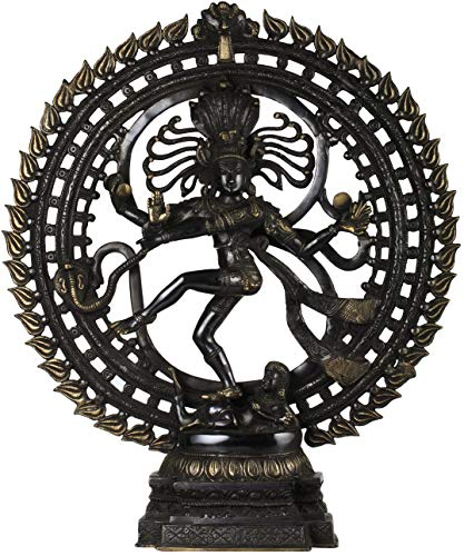 Exotic India Nataraja - Brass Statue - Color Black Gold Color