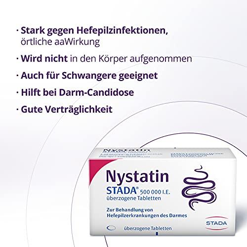 Nystatin STADA 500 000 I.E. - Arzneimittel zur Behandlung von Hefepilzerkrankungen des Darms - gute Verträglichkeit - auch für Schwangere geeignet - 1 x 50 überzogene Tabletten
