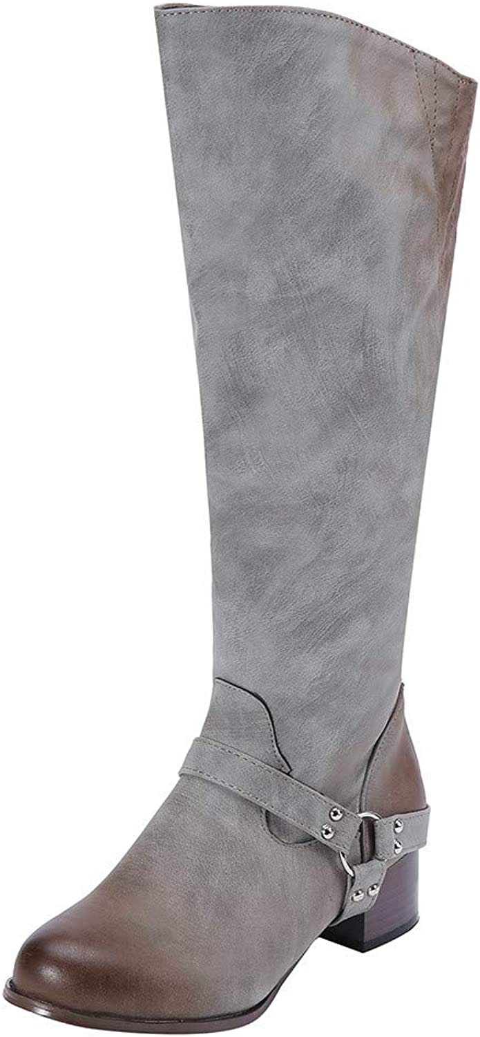 GoodLock Women Fashion High Boots Ladies Retro Low-Heeled Belt Buckle Rivets Non-Slip Knee-High Boots Round Toe shoes