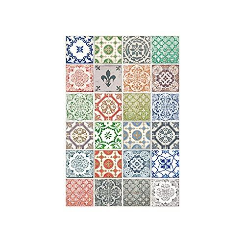 Walplus WT2022 Vintage Porcelana Azulejos Adhesivos de Pared 20cm X 20 cm-12 Piezas …, Mezclado, 20CMX20CMX0.02CM