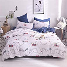 VClife Boy Duvet Cover Twin Cotton Cartoon Car Train Bus Printed Bedding Sets, Lightweight Soft Blue White Kid Bedding Collections - 1 Duvet Cover and 2 Pillowcases (No Comforter), 3 PCS Bedding Sets