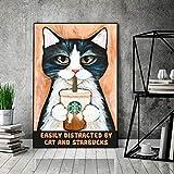 Cat Poster, Starbucks Lovers Poster, Cat And Starbucks