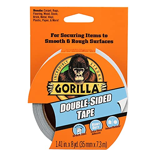 "Gorilla Double-Sided Tape, 1.41"" x 8yd, Gray, (Pack of 1),100925"