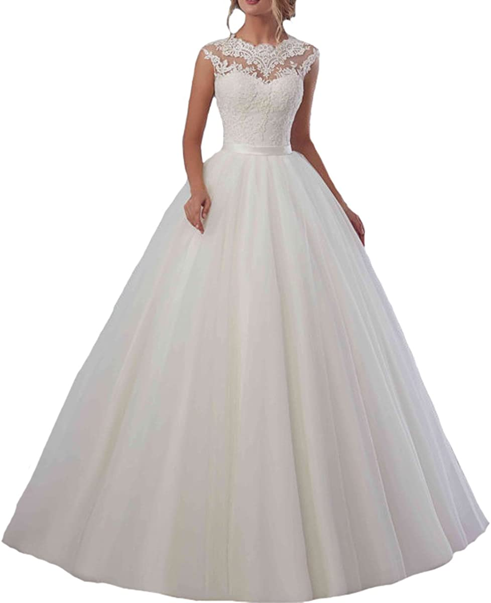 Amazon.com Fair Lady Lace Tulle Ball Gown Wedding Dresses 20 ...