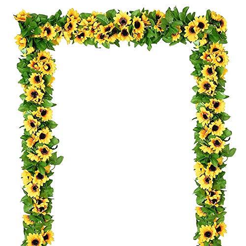SovelyBoFan 2.6M Guirnalda de Girasol Artificial Seda Flor Falsa Hiedra Hoja Planta DecoracióN del Hogar Flor Guirnalda de Pared 6 Paquetes